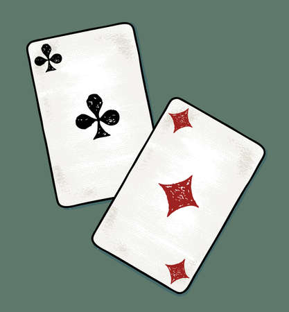 Vector illustration of two aces cards