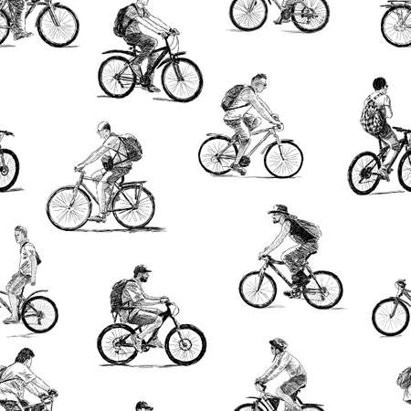 Sketches of the different townsmen ride on the bicycles Ilustrace