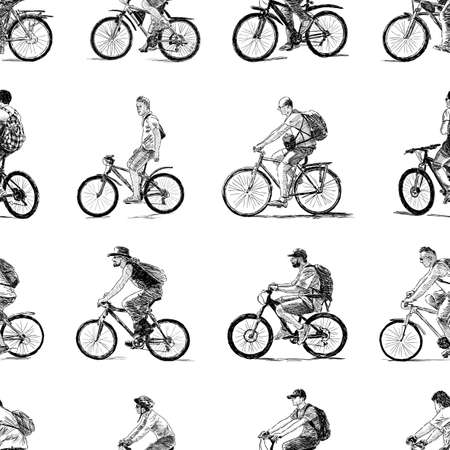 The different townsmen ride on the bicycles