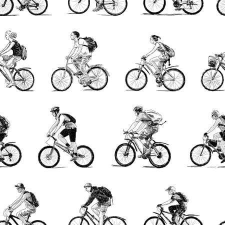Vector pattern of the sketches of young cyclists