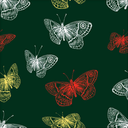 Vector background of decorative flying butterflies