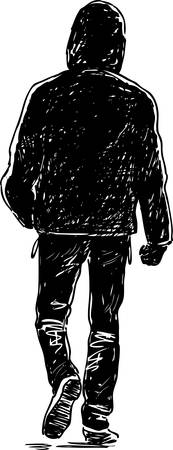 Silhouette of a young man going away