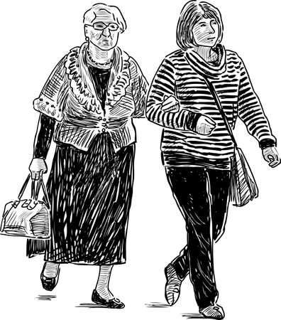 Sketch of a townswomen going on a stroll Illustration