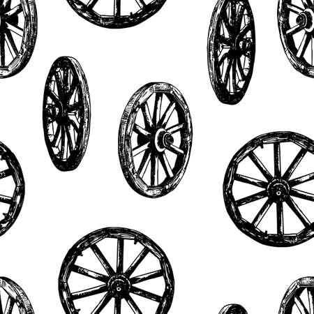 Naadloze achtergrond van oude houten wielen Vector Illustratie