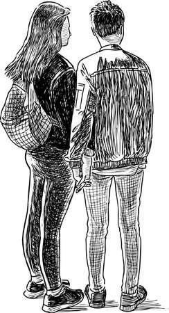 Skizze von ein paar Studenten beim Spaziergang