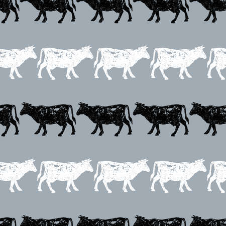 Seamless background of cows silhouettes