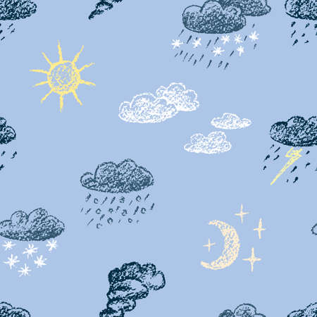 Seamless pattern of weather symbols