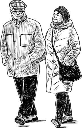 Sketch of an elderly people going for a stroll