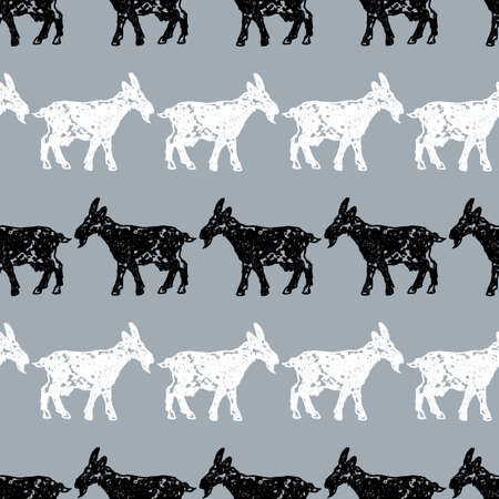 Vector pattern of goats silhouettes