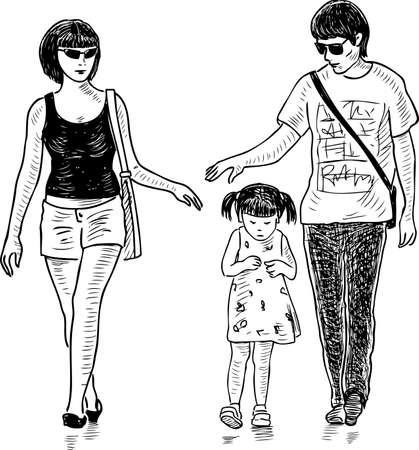딸이 산책을 하는 젊은 부모의 손 그림 벡터 (일러스트)