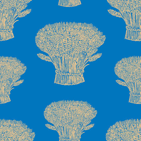 Seamless pattern of the sheafs of ripe wheat