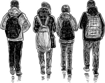 Schets van schoolkinderen die naar huis gaan