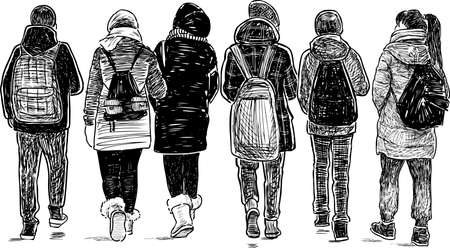 Sketch of school friends going home