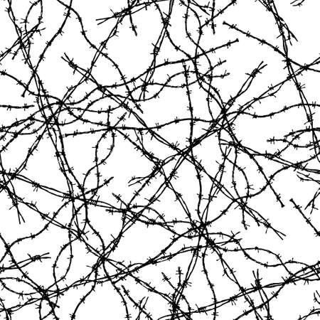 Seamless background of pieces of barbed wire