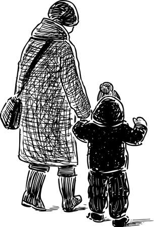 Sketch of a grandmother with her grandson going on a walk Illustration