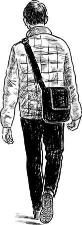 A casual urban pedestrian goes away