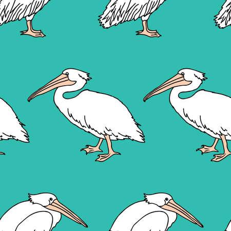 Seamless background of cartoon pelicans Çizim