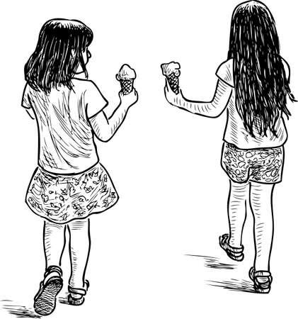 The little girls walk and eat ice cream Çizim