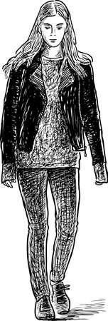 A sketch of a casual urban girl