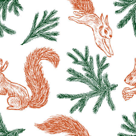 Seamless background of forest squirrels and of pine branches