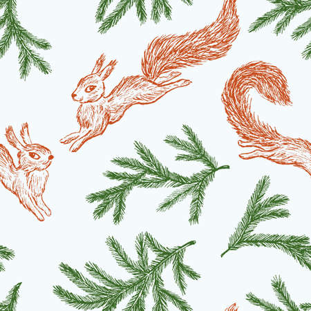 Seamless pattern of jumping squirrels and of fir branches