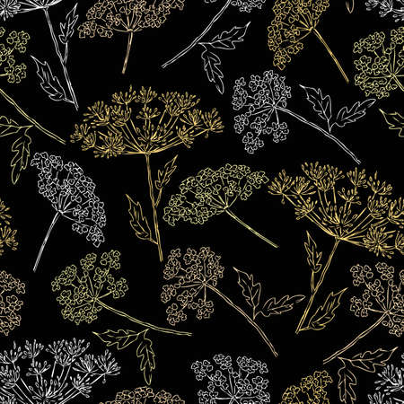 seamless pattern of the umbellate flowers