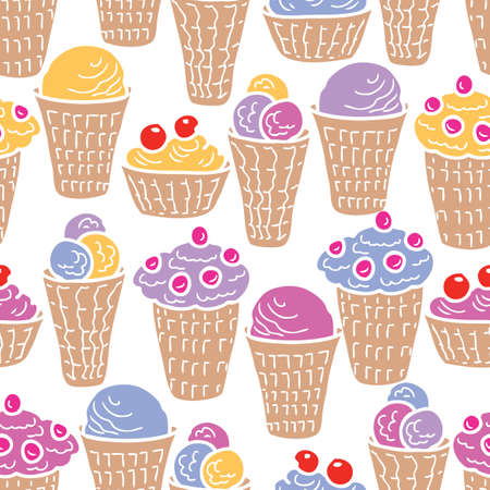 Seamless pattern of waffle cups of ice cream Stock Illustratie