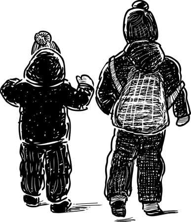 Little kids go for a walk