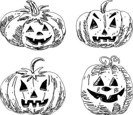 A set of sketches of Halloween pumpkins