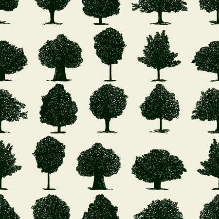 Seamless pattern of silhouettes of deciduous trees Stock Illustratie