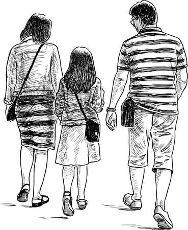A family of citizen going on a stroll