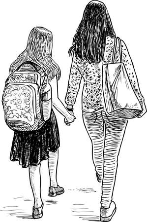 A mother with her daughter going to school Stock Illustratie