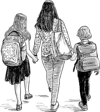 Eine Mutter mit ihren Kindern, die zur Schule gehen