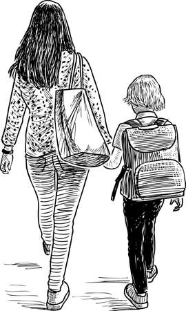 A mother with her son going to school Stock Illustratie