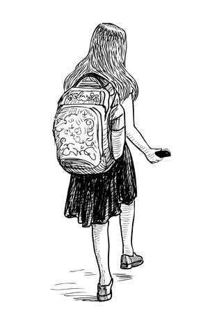 A schoolgirl with a smartphone goes to school  イラスト・ベクター素材