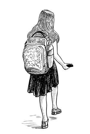 Una colegiala con un teléfono inteligente va a la escuela.