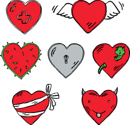Vector image of various hearts in different states.