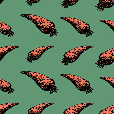 Seamless pattern of drawn carrot