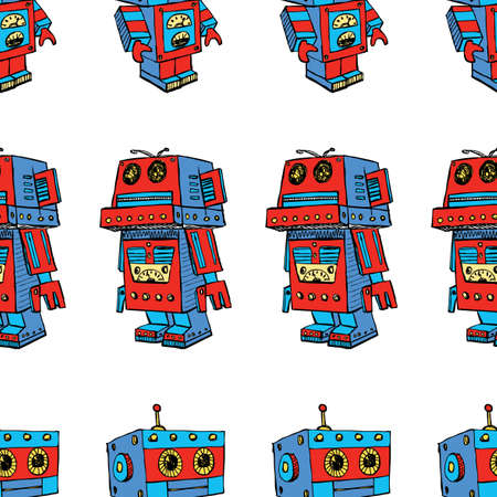 Seamless pattern of toy robots Иллюстрация