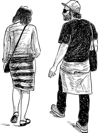 Sketch of a casual couple of city pedestrians