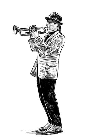 Sketch of a casual street trumpeter