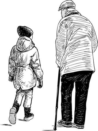 Sketch of grandfather with his granddaughter going down the street Stock Illustratie