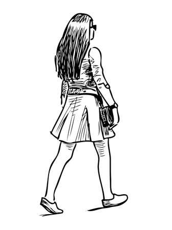 Schizzo di una giovane ragazza che cammina a grandi passi per la strada