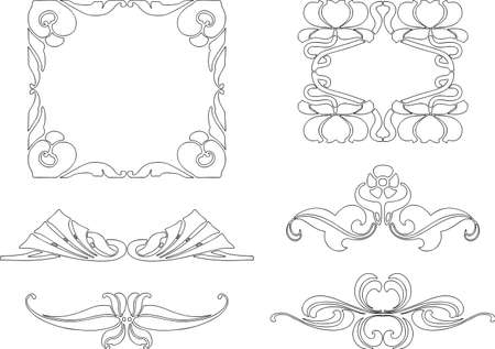 A set of decorative elements in style of art nouveau