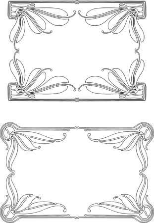 Decorative frames in style of art nouveau Çizim