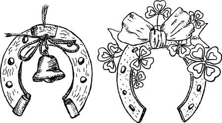 Hand drawings of festive horseshoes Stock Illustratie