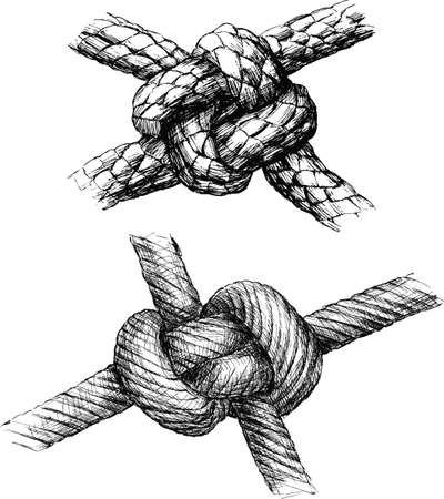 Hand drawings of various sea knots Stock Illustratie