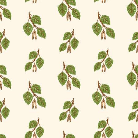 Pattern of birch earrings with leaves Çizim
