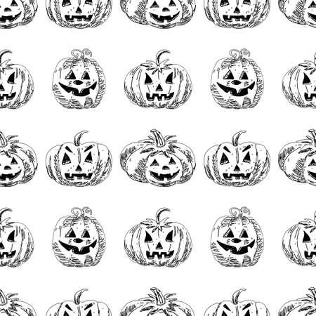 Seamless background of drawn halloween pumpkins