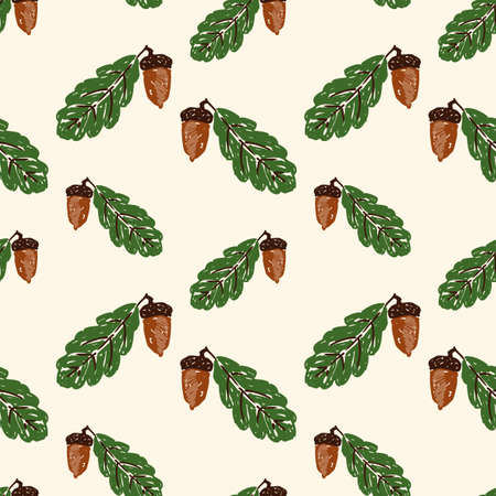 Seamless pattern of drawn acorns with leaves